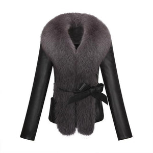 The New 2017 Winter Fur Coat Faux Fur Rabbit Fur Fox Fur Collar Long Leather Women Large Size Coat Outwear