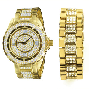 Set Watch/Bracelet 14K Yellow Gold Bling Master