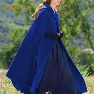 Fashion Overcoat, Long Chic Cape Blue for Women 2018