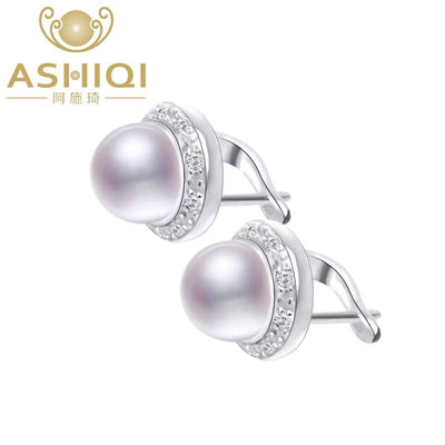 ASHIQI Genuine Natural Freshwater pearl Stud earrings for women wholesale