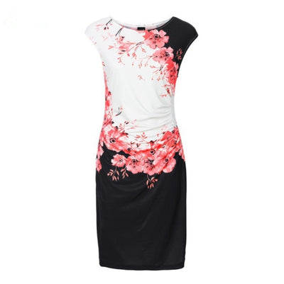 2019 Summer Office Dress Casual Sleeveless ONeck Print Slim | 2019 Robe de bureau mince sans manches imprimé O'Neck