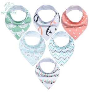6Pcs Baby Bandana Super Absorbent 100% Organic Cotton Bibs