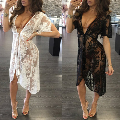 2019 Long Lace Sexy Beach Cover Up Dress | Robe longue de plage sexy en dentelle 2019