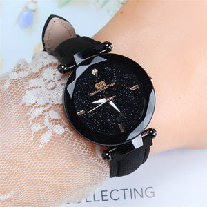 2019 Crystal Women's  Leather Band Watch  Luxury Stainless Steel | 2019 Montre à bracelet en cuir pour femmes en cristal, acier inoxydable de luxe