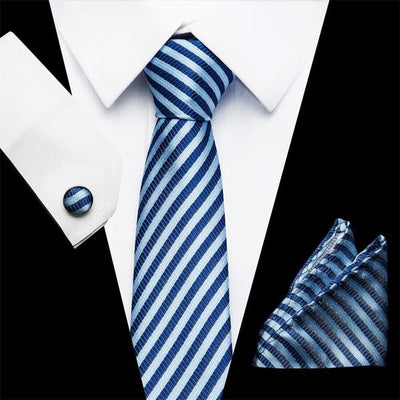 Striped 100% Silk Neckties Set for formal occasions | Ensemble de cravate formelle tissé 100% soie