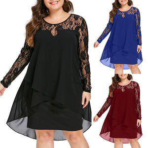 Long Sleeve Pure Lace XL-5XL Dress | Robe à manches longues en dentelle pure XL-5XL