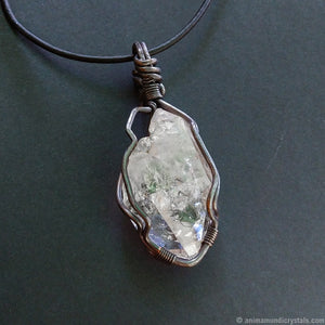 Bold Raw Quartz Pendant | Large Crystal Point Necklace | Wire Wrapped in Copper