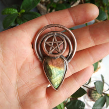 Load image into Gallery viewer, Electroformed Pentagram Labradorite Pendant | Witchy Jewelry | Five Pointed Star Amulet