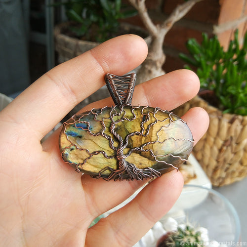 Wire Wrapped Tree Of Life Pendant with Labradorite | Seventh Anniversary | Fifth Anniversary |