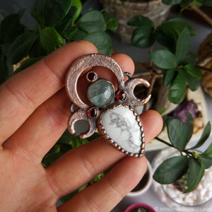 Electroformed Pendant | Howlite with Aquamarine and Garnet Jewelry with Copper Crescent moons
