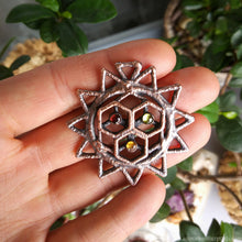 Load image into Gallery viewer, Electroformed Flower of Life Pendant, Sacred geometry pendant, Multistone pendant seed of life, citrine jewelry peridot boho stone pendant