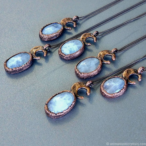 Electroformed Rainbow Moonstone Pendant | Crescent Moon Crystal Necklace | Moon Jewelry