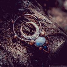 Load image into Gallery viewer, The Moon | Electroformed Moonstone Necklace | Magical Amulet | Moon Phase Pendant