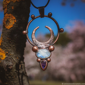 The Moon | Electroformed Moonstone Necklace | Magical Amulet | Moon Phase Pendant