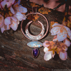 Venus | Electroformed Crystal Pendant | Magical Amulet | Moonstone Jewelry