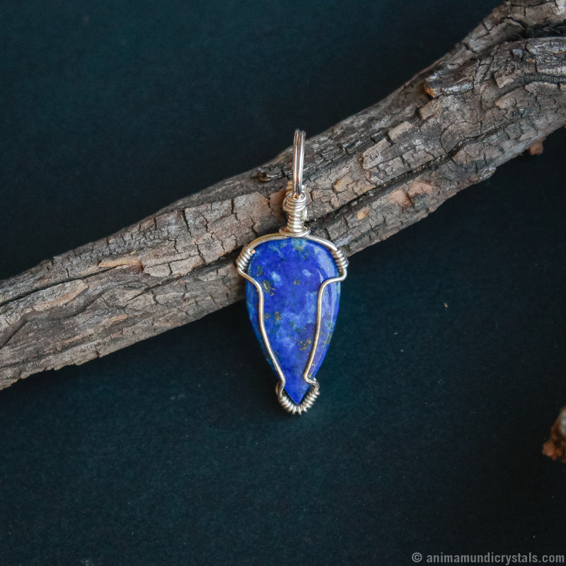 Silver Lapis Lazuli Necklace | Wire Wrapped Pendant