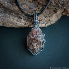 Load image into Gallery viewer, Raw Smoky Quartz Pendant | Crystal Point Necklace | Wire Wrapped in Copper | Lepidocrocite