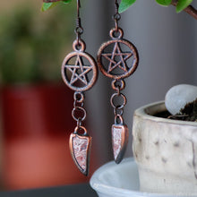 Load image into Gallery viewer, Pentagram earrings, wiccan jewelry witch jewelry Occult jewelry gothic earrings Electroformed Crystal earrings gift for wife gift for sister