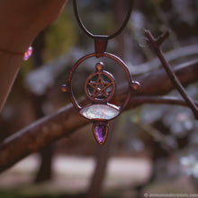 Load image into Gallery viewer, Electroformed Moonstone Pendant | Pentagram | Five Pointed Star Amulet |
