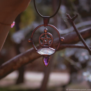 Electroformed Moonstone Pendant | Pentagram | Five Pointed Star Amulet |