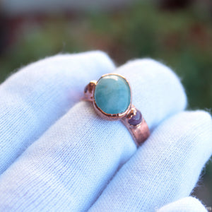 electroformed aquamarine ring size 8.5us