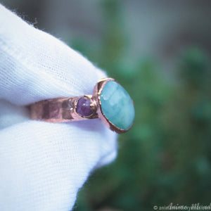 electroformed copper ring with aquamarine with rubies