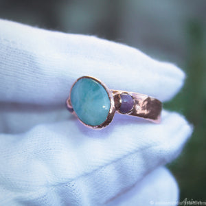 electroformed aquamarine with rubies ring