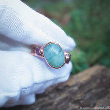 Load image into Gallery viewer, copper ring with aquamarine and rubies