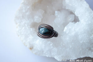 Black Tiger Eye Ring | Wire Wrappped ring | Black Jewelry Copper Ring