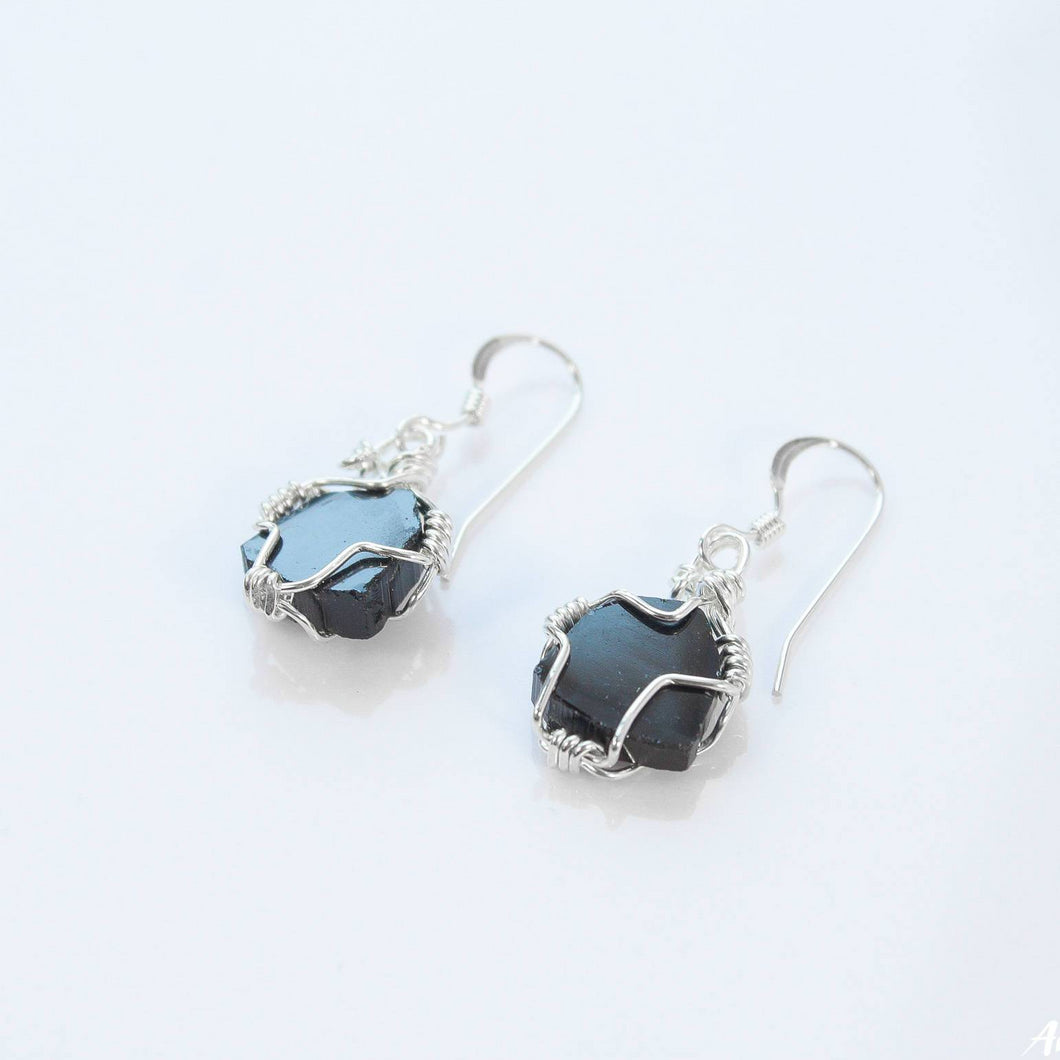 Black Tourmaline Earrings | Silver Wire Wrappped Earrings