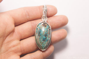 Chrysocolla Pendant | Sterling Silver Wire Wrapped Chrysocolla Necklace