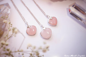 Rose Quartz Pendant | Pink Quartz Heart Necklace