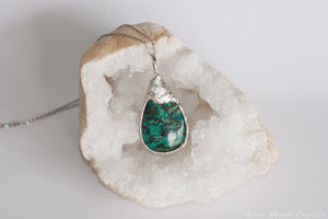 Chrysocolla Pendant | Silver Necklace