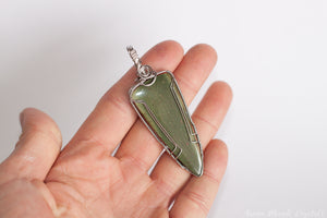 Green Jasper Pendant | Wire Wrapped Arrow Pendant
