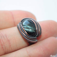 Load image into Gallery viewer, Black Tiger Eye Ring | Wire Wrappped ring | Black Jewelry Copper Ring