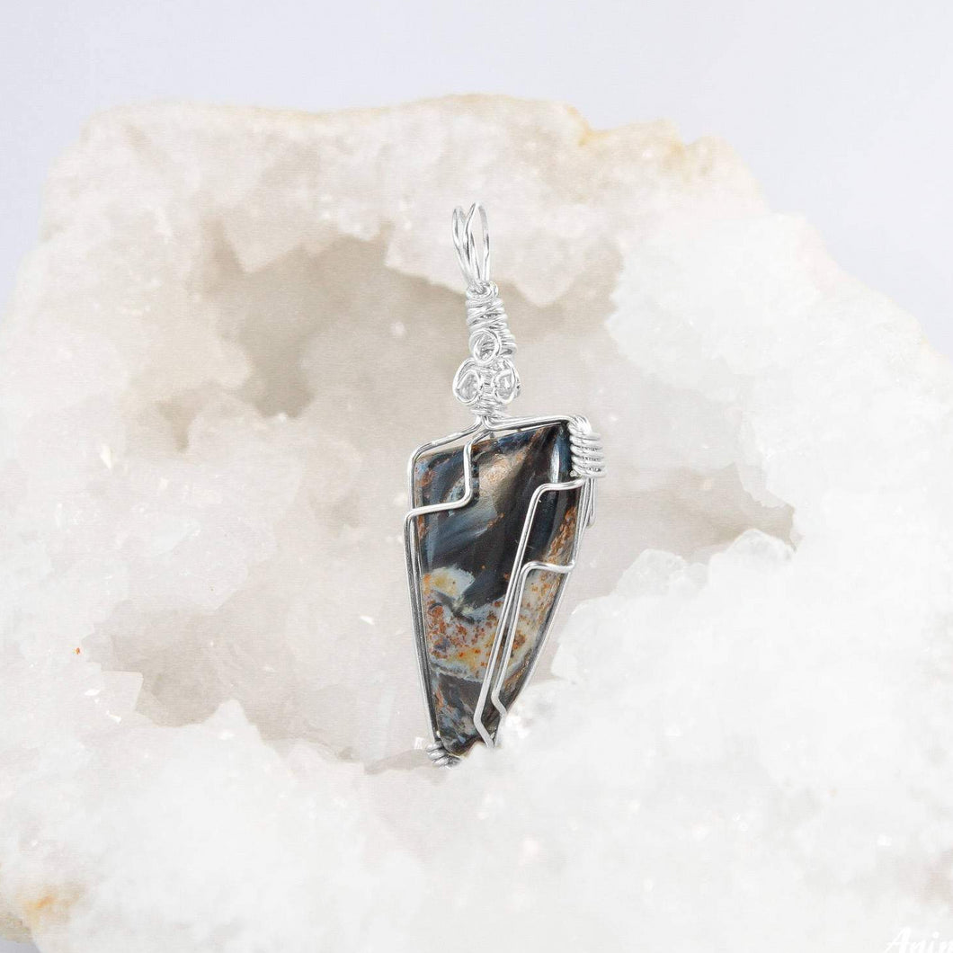 Wire Wrapped Pietersite Necklace | Sterling Silver Stone Pendant
