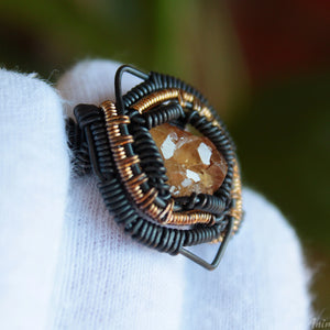 yellow garnet cluster ring wire wrapped