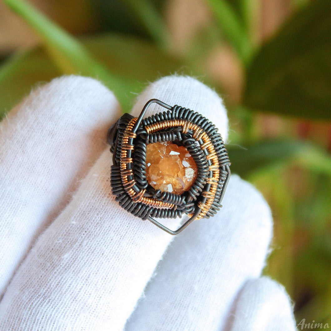 yellow garnet cluster ring wire wrapped in copper with brass