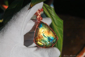 Large Labradorite Necklace | Copper Wire wrapped Pendant