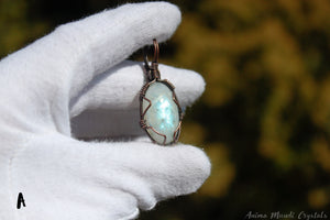Wire Wrapped Rainbow Moonstone Pendant | June birthstone gemstone | Copper Pendant