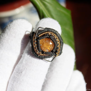 yellow garnet crystal ring wire wrapped