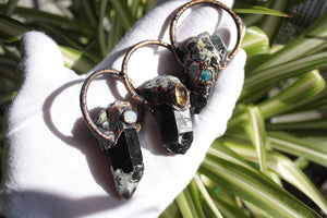 Black Quartz Pendant with Citrine | Raw Quartz Necklace electroformed