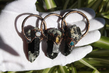 Load image into Gallery viewer, Black Quartz Pendant with Citrine | Raw Quartz Necklace electroformed