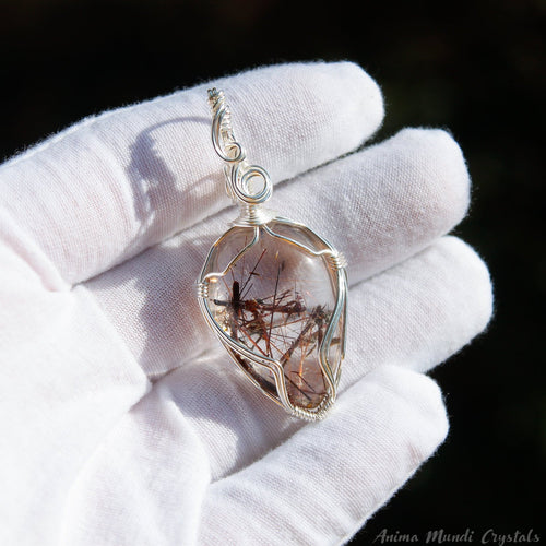 Copper Rutilated Quartz Pendant | Silver Filled Quartz Necklace