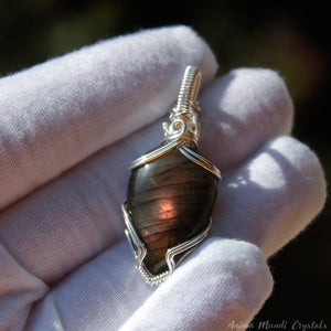 Purple Labradorite Pendant | Silver Wire wrapped Labradorite Necklace