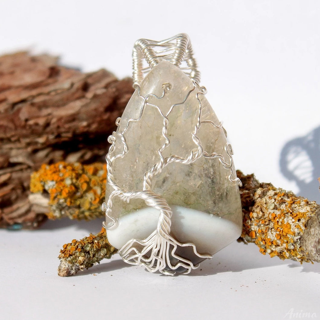 Wire wrapped Tree of life Agate Necklace