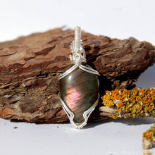 Load image into Gallery viewer, Purple Labradorite Pendant | Silver Wire wrapped Labradorite Necklace