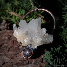 Load image into Gallery viewer, Raw Quartz necklace with Star Ruby | Electroformed Crystal Pendant