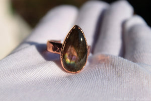 Labradorite Ring Size 9.25 US | Electroformed Purple Labradorite Ring