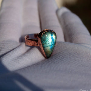 Stackable Copper Ring with Stone
